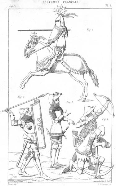 FRANCE. Militaria. Chevalier Joutant; Gens de trait; coiffe du bassinet 1875