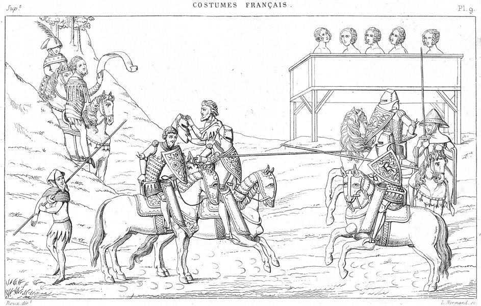 Associate Product FRANCE. Militaria. Passe d'Armes(Manuscrit de 1390) 1875 old antique print