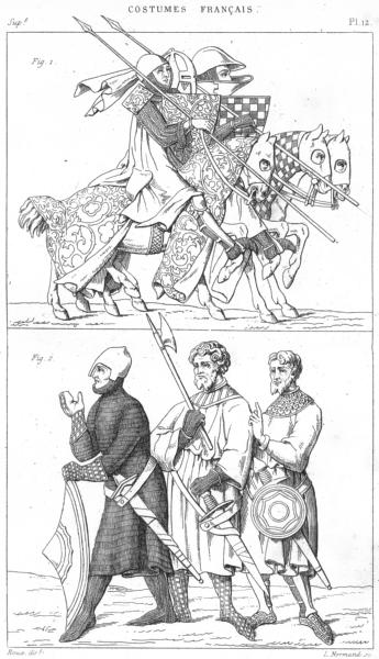 Associate Product FRANCE. Militaria. Chevaliers rendant Tournoi; Trois Sergents(1400) 1875 print