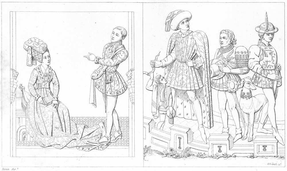 Associate Product COSTUME. Dame Damoiseau(1450); Seigneur, page, Messager Varlet 1875 old print
