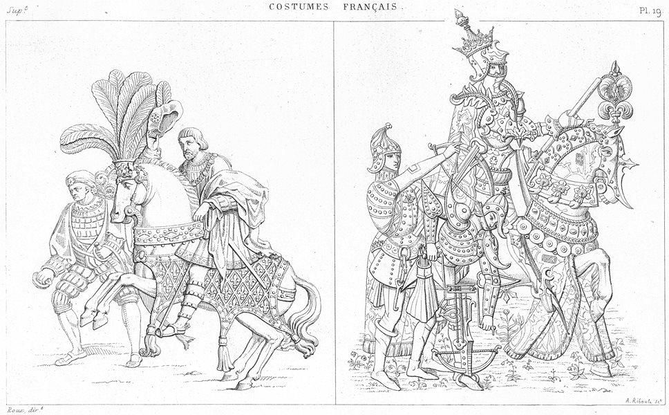 Associate Product FRANCE. Francois 1er(pare, 1540); Charles VII(militaire d'apparat, 1450) 1875