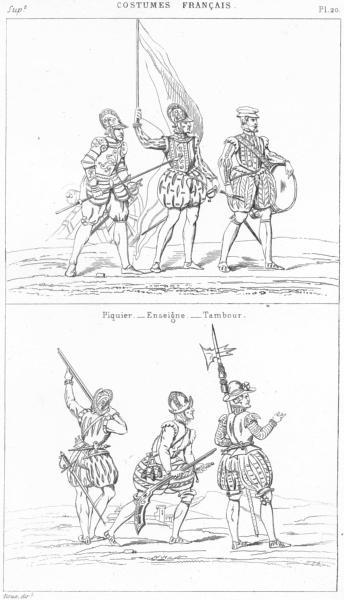 Associate Product FRANCE. Militaria. Piquier-Enseigne-Tambour; Arquebusiers-Hallebardier 1875