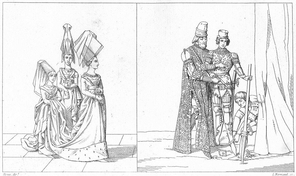 Associate Product FRANCE. Costumes. Princesse Dames d'Honneur(15C); Prince Ecuyer Valet 1875