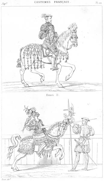 Associate Product FRANCE. Militaria. Henri II; (Tournoi fut tue) 1875 old antique print picture