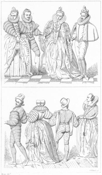 Associate Product FRANCE. Princes Princesses, Dames Gentilhommes(Fin du 16C) 1875 old print