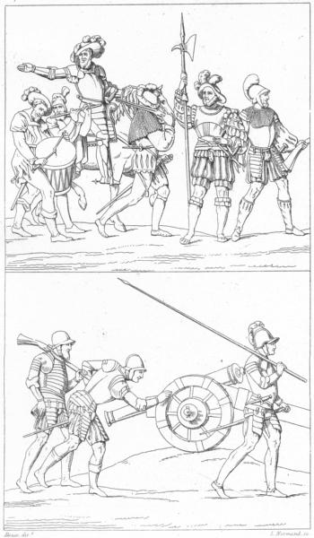 Associate Product FRANCE. Militaria. Costumes militaires de 1515 a 1544 1875 old antique print
