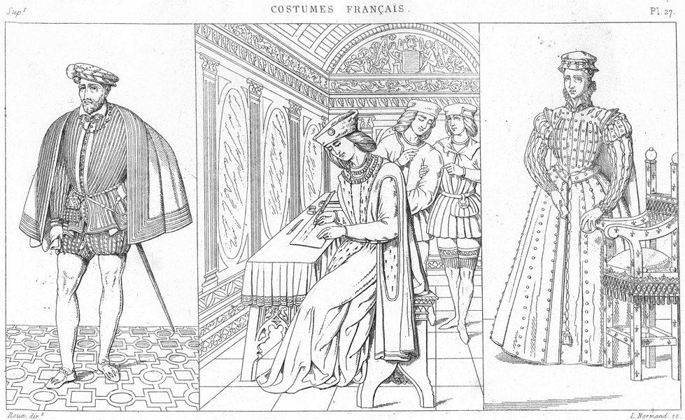 Associate Product FRANCE. Costumes. Henri II; Un Seigneur(1510); Marie-Stuart 1875 old print
