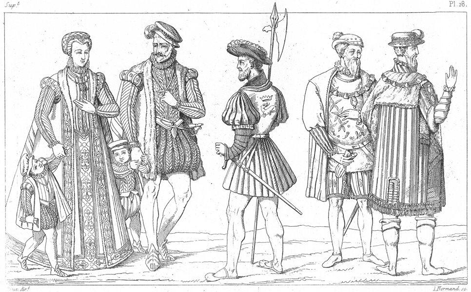 FRANCE. Costumes. Famille de qualite(1572); Archer; Seigneurs a mode(1540) 1875