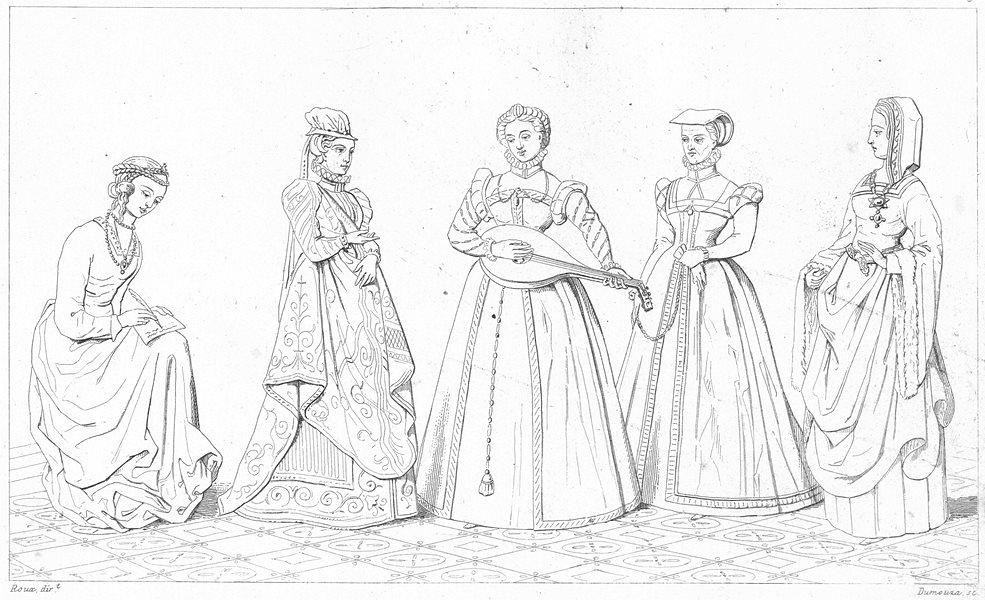 Associate Product FRANCE. Costumes. Dame de Cour; Demoiselle(Regne Charles IX); Bourgeoise 1875
