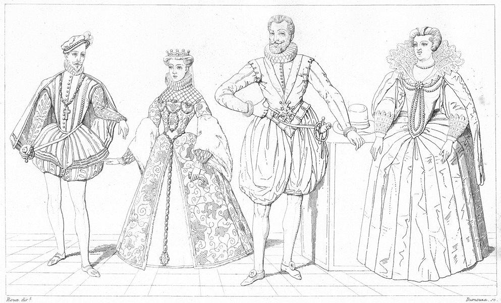 Associate Product FRANCE. Charles IX Elisabeth d'Autriche 1575; Henri IV Marie Medicis 1600 1875