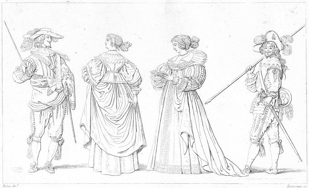 Associate Product FRANCE. Gentilhomme; Dames de Cour Regne Louis XIII(1630); Hallebardier 1875