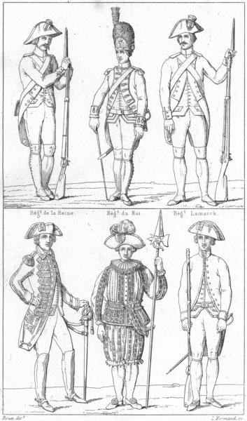 Associate Product FRANCE. Regt Reine; Roi; Lamarck; Officier Gdes Corps; Cent-Suisse(1789);  1875