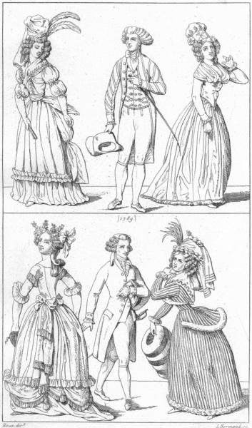 Associate Product FRANCE. Costumes. Costume de bal; (1789); deuil 1875 old antique print picture