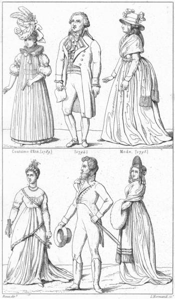 Associate Product FRANCE. Costumes. Costume d'ete(1789); (1794); Mode(1795); (1798); d'homme 1875