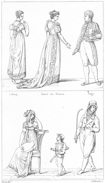 Associate Product FRANCE. Costumes. (1809); Dame du Palais; page; Modes(1801) 1875 old print