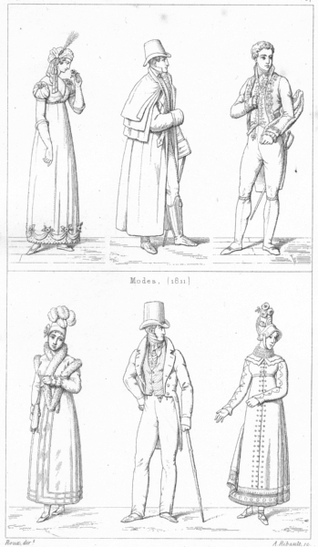 Associate Product FRANCE. costumes. Modes(1811); Modes(1811) 1875 old antique print picture