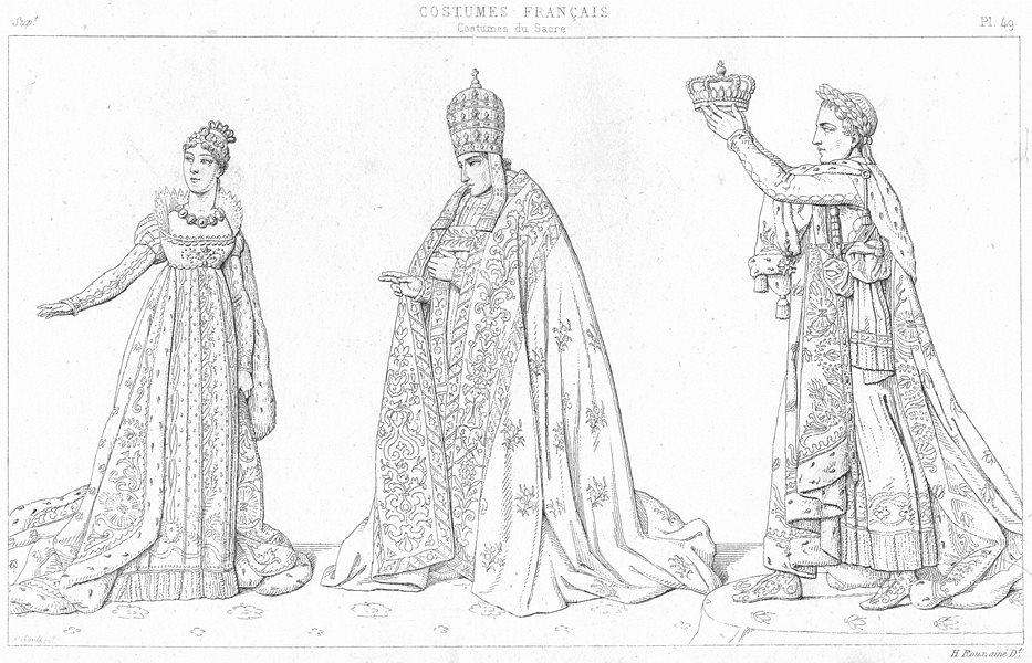 FRANCE. Costumes du Sacre. L'Imperatrice; Pape; L'Empereur 1875 old print