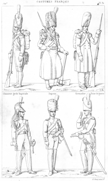 Associate Product MILITARIA. Hunter, Imperial Guard; Sapper; Grenadier; Dragoon, gendarmes 1875