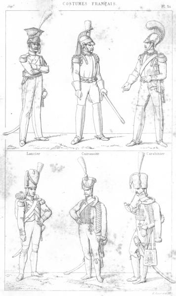 Associate Product FRANCE. Lancier; Cuirassier; Carabinier; Canonnier a pied; Hussard; cheval 1875