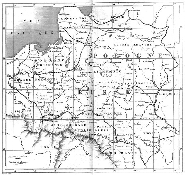 POLAND. Mapa General de Polonia Carte Generale de La Pologne 1879 old