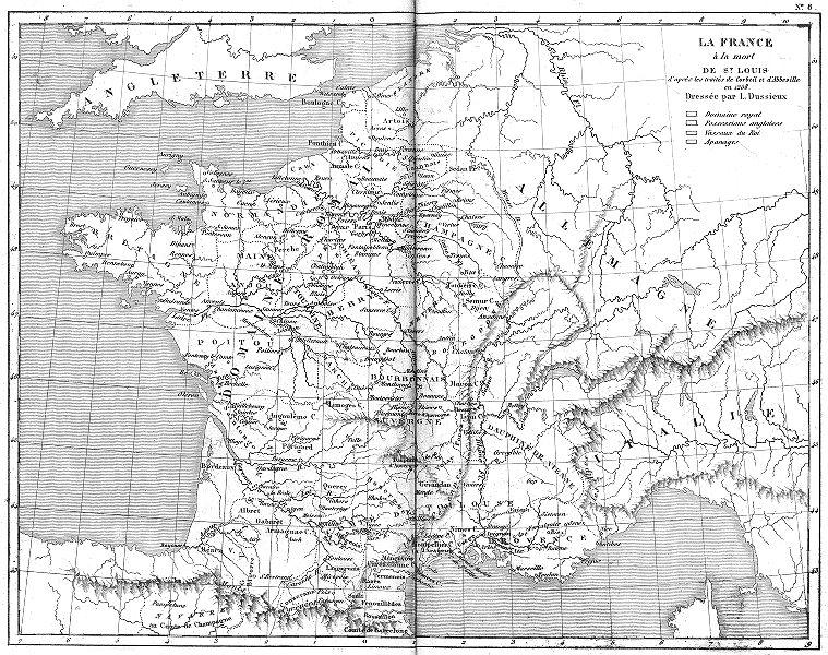 Associate Product FRANCE. La France a la Mort de St Louis 1879 old antique map plan chart