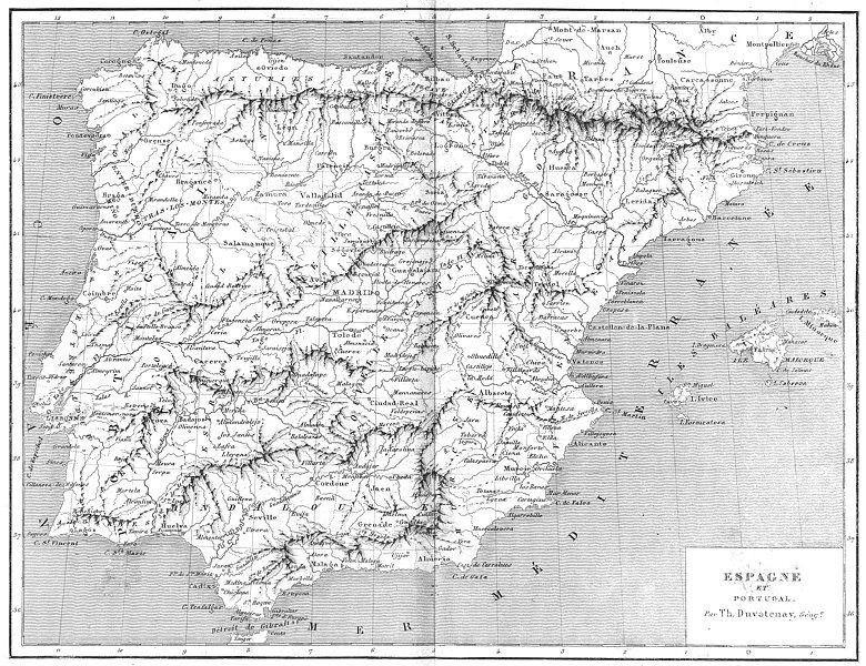 Associate Product SPAIN. Espagne(Spain)et Portugal 1879 old antique vintage map plan chart