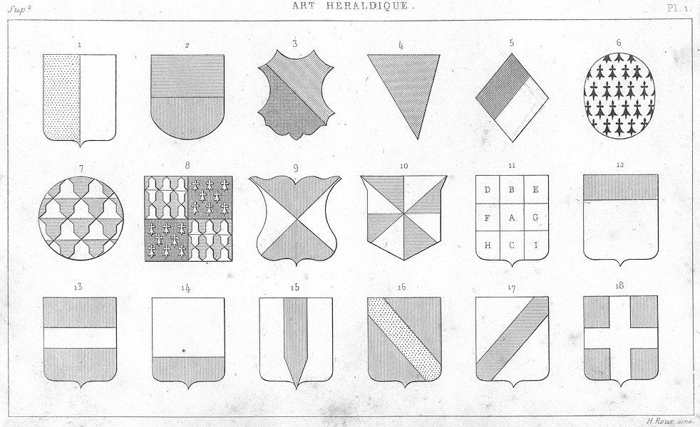 Associate Product DECORATIVE. Art Heraldique. 1 1879 old antique vintage print picture