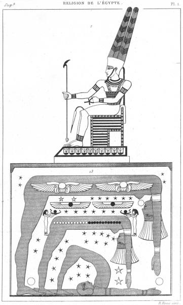 Associate Product EGYPT. Religion de L'Egypte. Amon-ra La Deesse(Ciel) 1879 old antique print