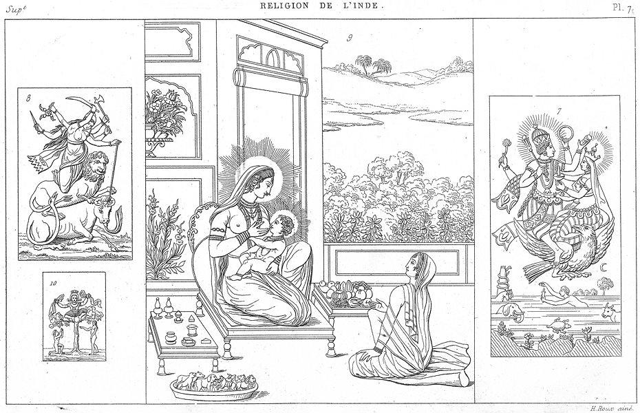 Associate Product INDIA. Hinduism. Vichnou Vishnu Garouda; Dourga; Crichna Krishna Jopis 1879