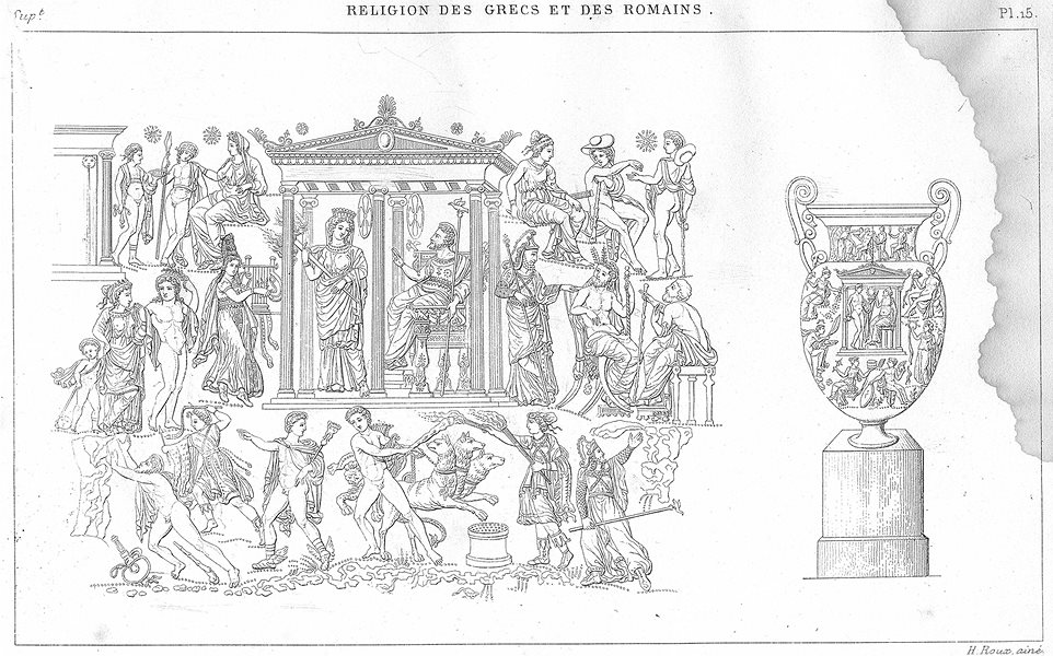 Associate Product GREECE. Religion Grecs Romains. Royaume d'Hades Enfers 1879 old antique print