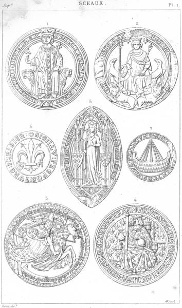Associate Product SEALS. Philip Bold King John Duke Burgundy Louis XII Jeanne Provost Paris 1879