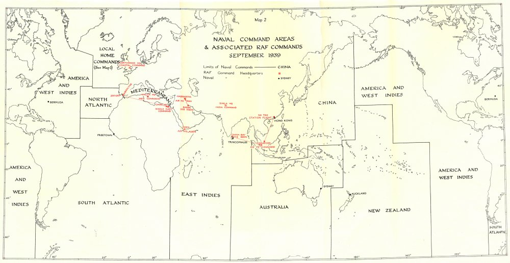 Associate Product WW2. Naval Command Areas & RAF Commands September 1939 1954 old vintage map