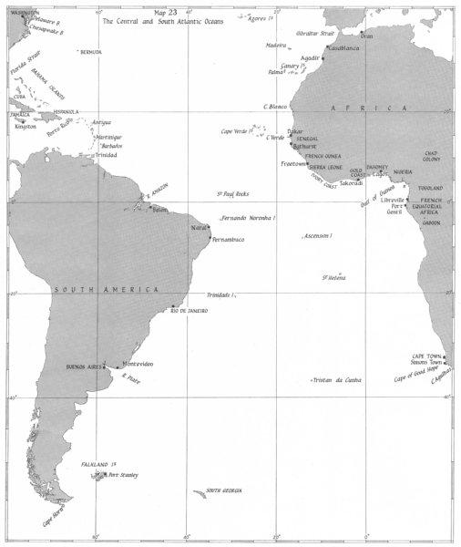 Associate Product OCEAN WARFARE. Jan-Dec 1940. Central & south Atlantic Oceans 1954 old map