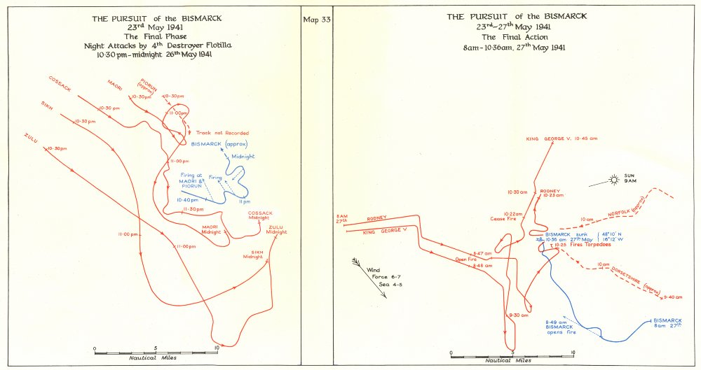 Associate Product ATLANTIC. The pursuit of the Bismarck May 1941. Final action 1954 old map