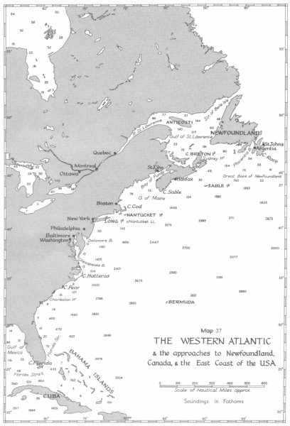 Associate Product BATTLE OF THE ATLANTIC. 1941. Approach to Newfoundland, Canada USA 1954 map