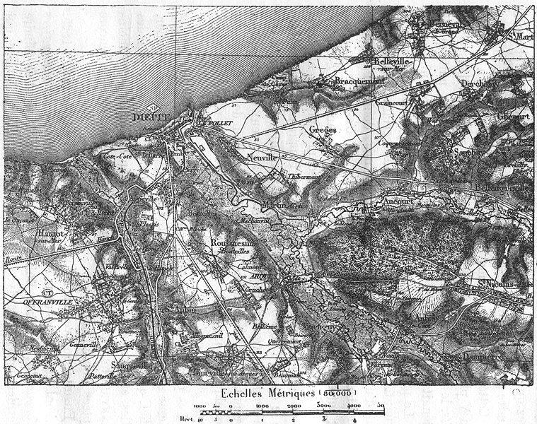 Associate Product SEINE-MARITIME. Dieppe, D'apres la Carte de L'etat-Major, sketch map 1880