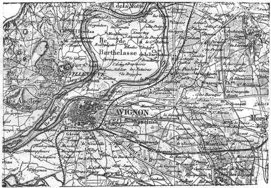 Associate Product VAUCLUSE. Avignon. Carte des environs d'Avignon, sketch map 1880 old