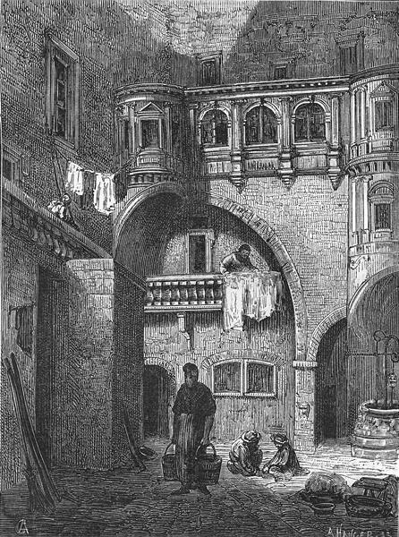 Associate Product RHÔNE. Lyon. Maison de Philibert Delorme, rue de la Juiverie 1880 old print