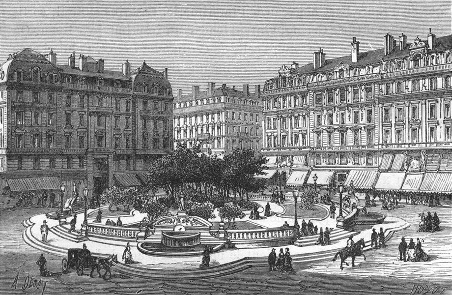 Associate Product RHÔNE. Lyon. Place des Jacobins 1880 old antique vintage print picture