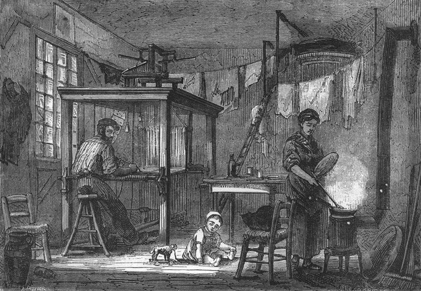 Associate Product RHÔNE. Lyon. Interieur d'un tisseur lyonnais 1880 old antique print picture