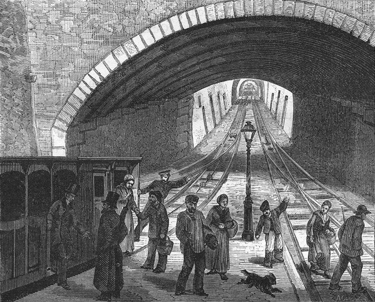 RHÔNE. Lyon. Le chemin de fer a la corde 1880 old antique print picture
