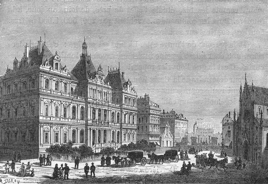 Associate Product RHÔNE. Lyon. Le Palais du Commerce 1880 old antique vintage print picture