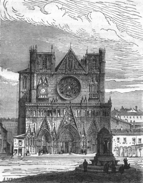 Associate Product RHÔNE. Lyon. La Cathedrale de Lyon 1880 old antique vintage print picture