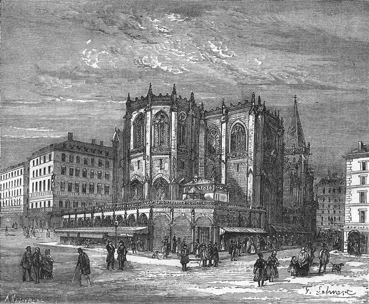 Associate Product RHÔNE. Lyon. Abside de Saint-Nizier 1880 old antique vintage print picture