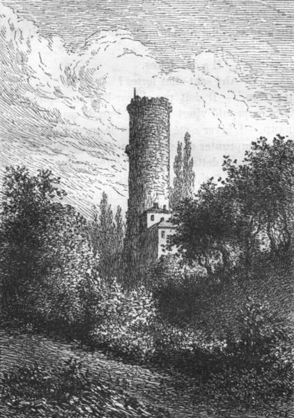 Associate Product RHÔNE. Lyon. La tour de la Belle-Allemande 1880 old antique print picture