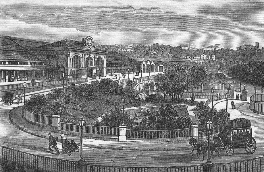 Associate Product RHÔNE. Lyon. Gare de Perrache 1880 old antique vintage print picture