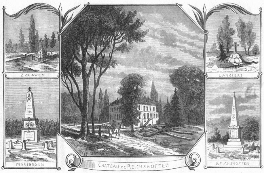 Associate Product BAS-RHIN. Zouaves; Morsbronn; Lanciers; Reichshoffen; Chateau de 1880 print
