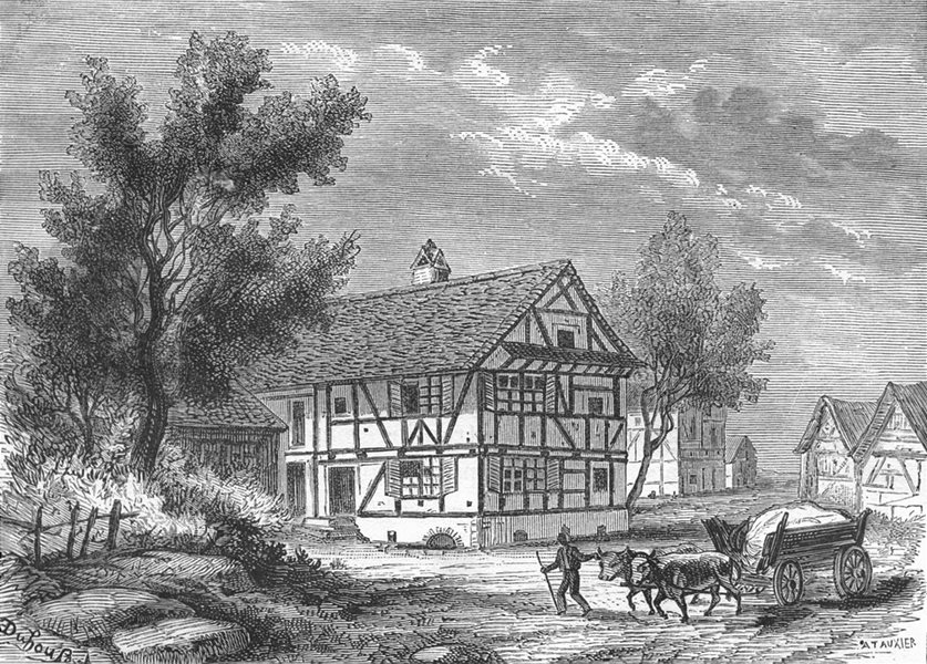 Associate Product BAS-RHIN. Maison Froeschwiller Gen Raoult fut visite par Prince royal 1880