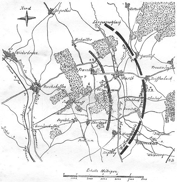 Associate Product BAS-RHIN. Reichshoffen Froeschwiller Woerth. Plan d'ensemble, sketch map 1880
