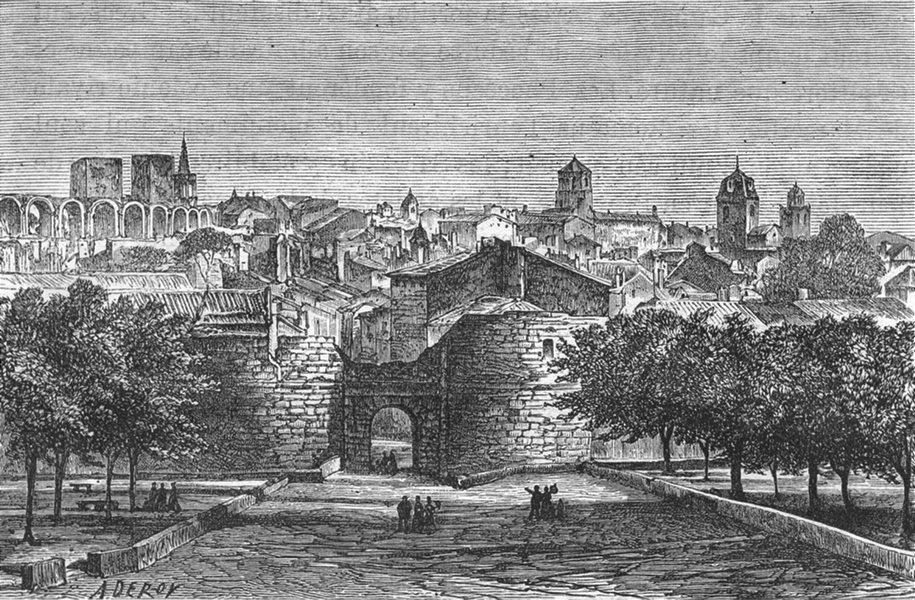 Associate Product BOUCHES-DU-RHÔNE. Arles. lice porte Penitents noirs 1880 old antique print
